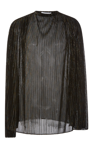 Medium rosetta getty black iridescent lurex mesh plisse blouse