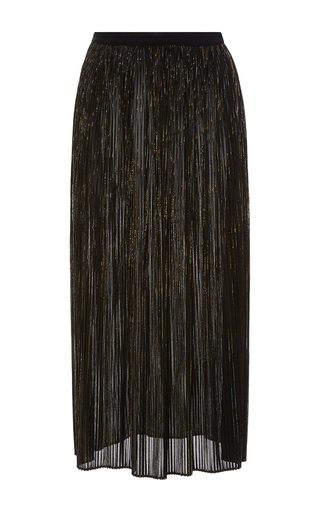 Medium rosetta getty black iridescent lurex mesh plisse skirt