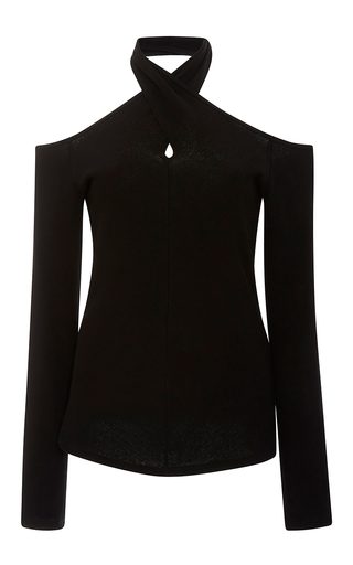 Medium rosetta getty black double mercerized japanese cotton halter top