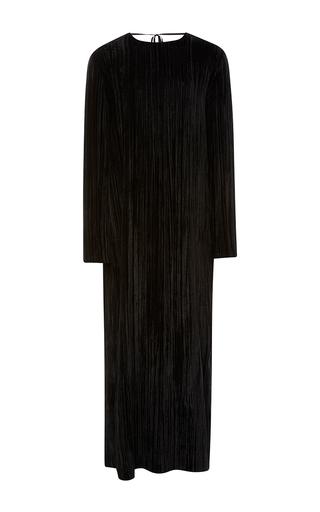 Medium rosetta getty black pleated velvet low back column dress