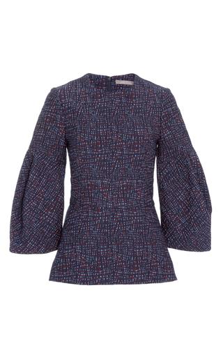 Medium lela rose navy jacquard oversized sleeve top