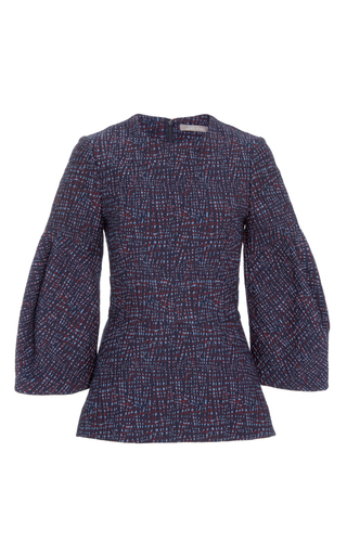 Medium lela rose navy jacquard oversized sleeve top