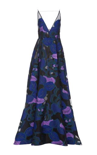 Medium lela rose blue stretch sateen v neck gown