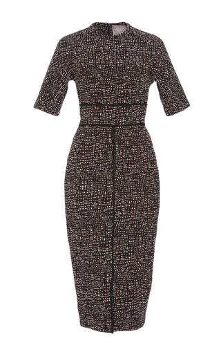 Medium lela rose multi jacquard seamed fitted dress