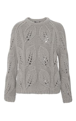 Medium lela rose tan illusion leaf knit pullover