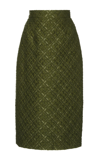 Medium lela rose olive checkered matelasse pencil skirt
