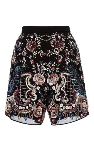 Medium needle thread black cinder lace shorts