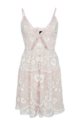 Medium needle thread pink blush embroidery motif prom