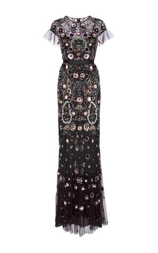 Medium needle thread purple aubergine enchanted lace maxi dress