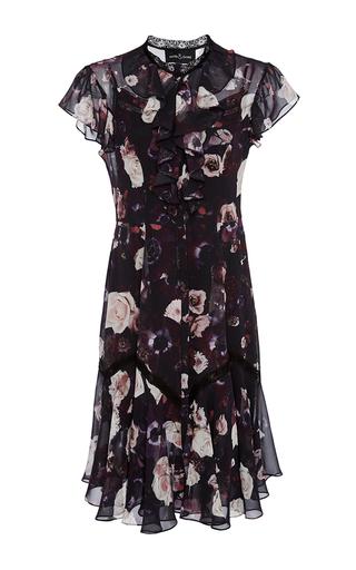 Medium needle thread burgundy floral ruffle dress
