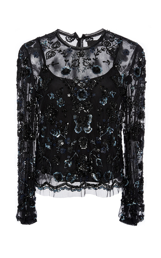 Medium needle thread black embellished butterfly shirt