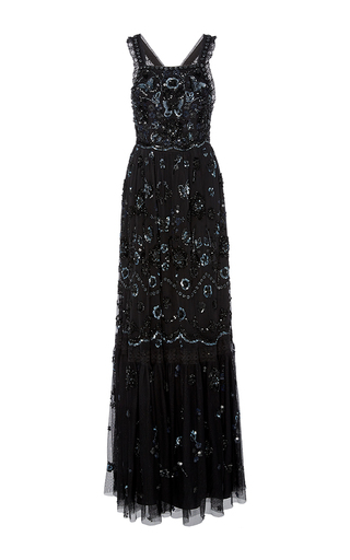 Medium needle thread black embellished bib gown
