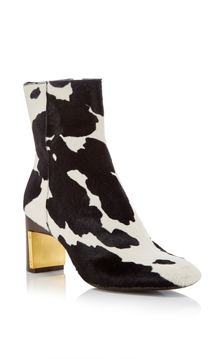 Medium rosetta getty black white cow print heeled ankle boot