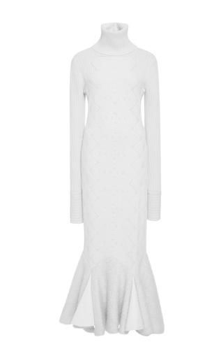 Medium jonathan simkhai ivory long sleeve turtleneck flare dress