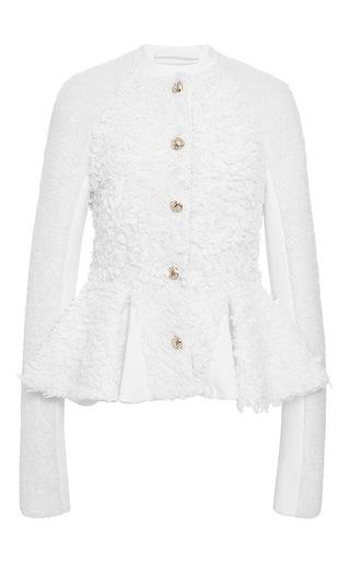Medium jonathan simkhai ivory wool shag peplum jacket