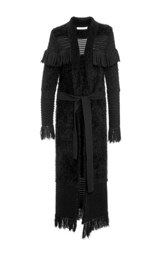 Medium jonathan simkhai black fringe pointelle long cardigan
