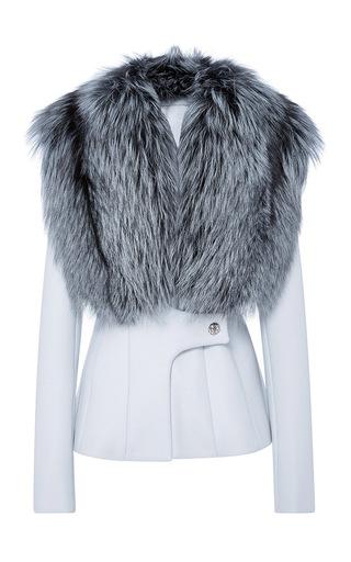 Medium jonathan simkhai light blue fox collar coat