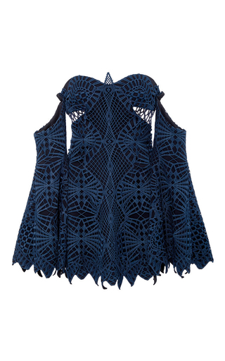 Medium jonathan simkhai navy lace applique bustier tunic