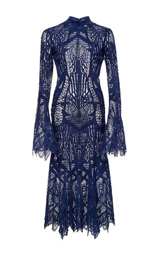 Medium jonathan simkhai navy mockneck lace flare midi dress