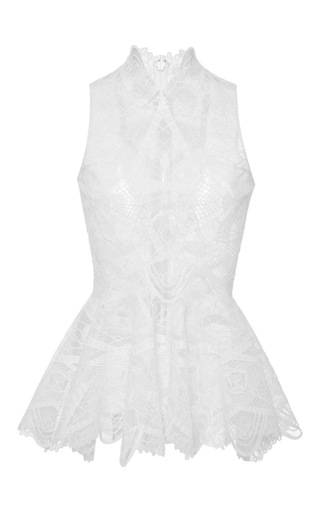 Medium jonathan simkhai white lace collar peplum top