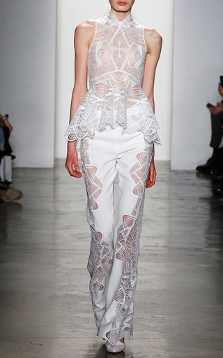 Lace Applique Wide Leg Pant by JONATHAN SIMKHAI Now Available on Moda Operandi