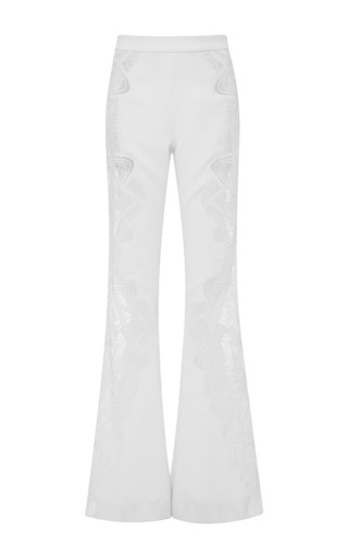 Medium jonathan simkhai white lace applique wide leg pant