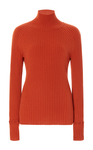 Medium zac posen orange ribbed turtleneck sweater  3