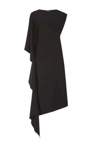 Medium zac posen black high neck draped dress