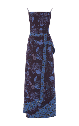 Medium zac posen blue floral printed gown