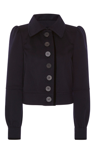 Medium zac posen navy cropped button down jacket  2