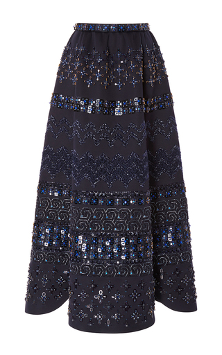 Medium zac posen navy embellished full skirt