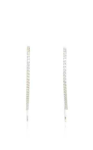 Medium fallon silver pave threaded hoops