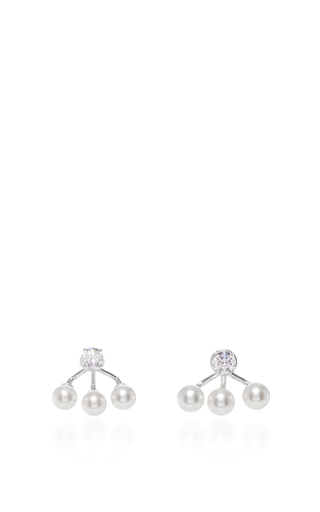 Medium fallon white triple pearl ear jackets