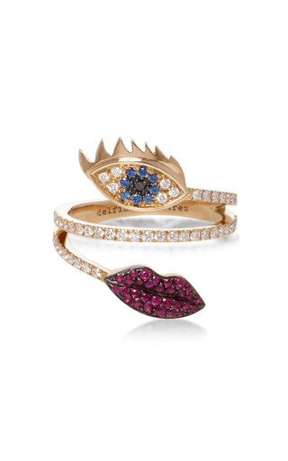Marry Me Eye And Lips Ring by DELFINA DELETTREZ Now Available on Moda Operandi