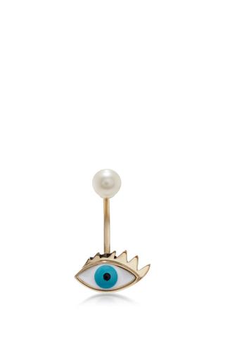 Medium delfina delettrez metallic gold eye piercing earring 2