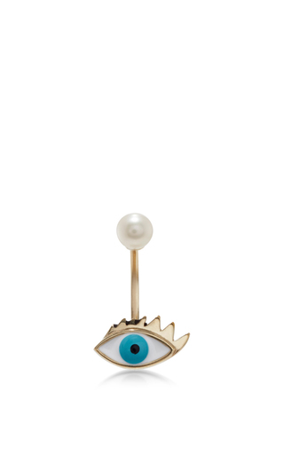 Medium delfina delettrez metallic gold eye piercing earring 2