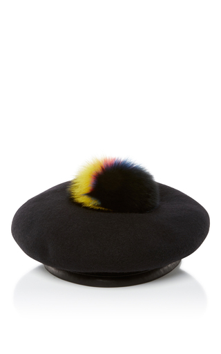 Medium eugenia kim black hadley pompom beret
