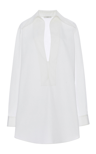 Medium tome white deep v neck collared tunic