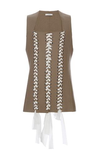 Medium tome tan lace up felt vest