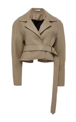 Medium tome tan tailored cropped jacket