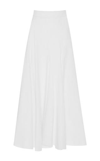 Medium tome white godet cotton maxi skirt