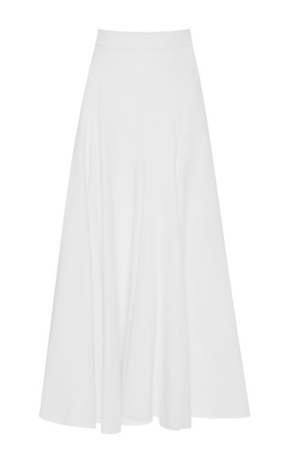 Medium tome white godet cotton maxi skirt