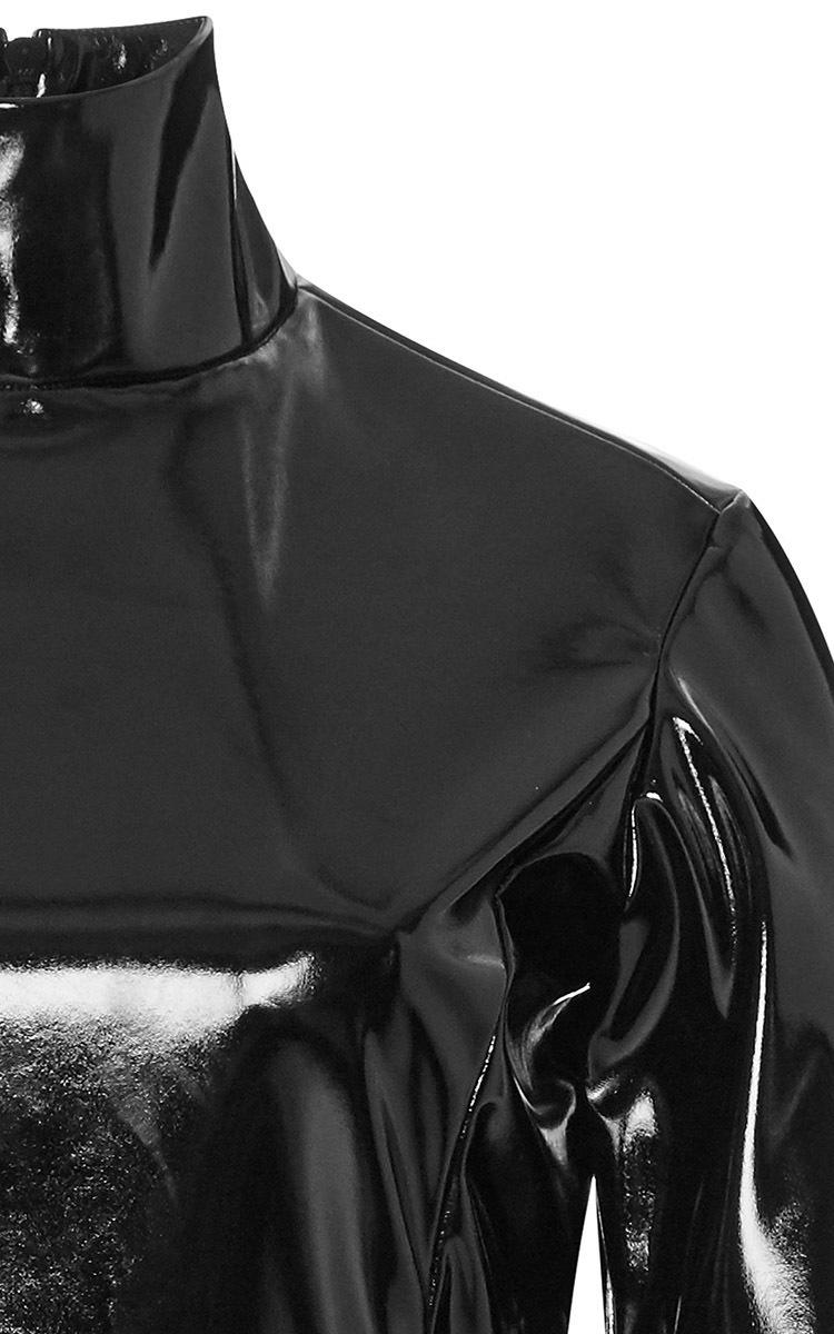 99a4355976 Black PVC Peplum Turtleneck Top by Tome