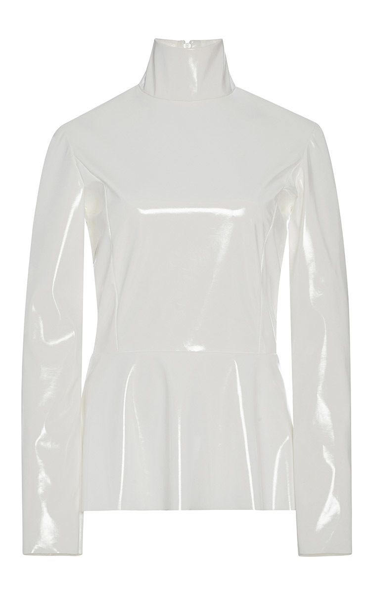 58c7db175c White PVC Peplum Turtleneck Top by Tome