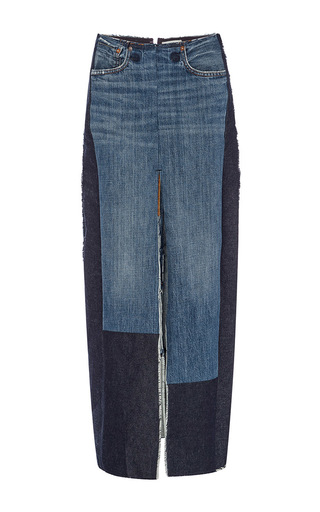 Medium tome blue denim front slit pencil skirt with patches