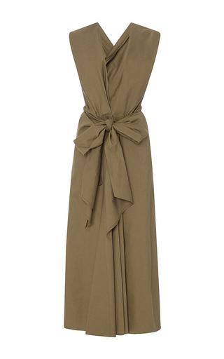 Medium tome khaki deep v neck draped bow front dress