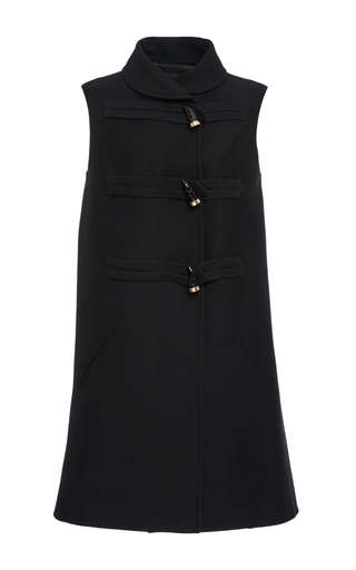 Medium derek lam black silk wool crepe toggle vest