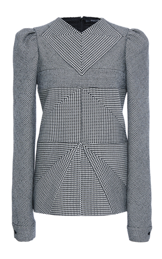 Medium derek lam plaid checked wool puff shoulder top