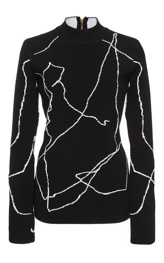 Medium derek lam black calder line art mock neck top