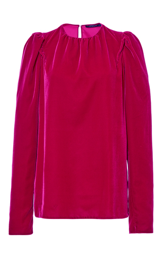 Medium derek lam fuchsia velvet long sleeve blouse